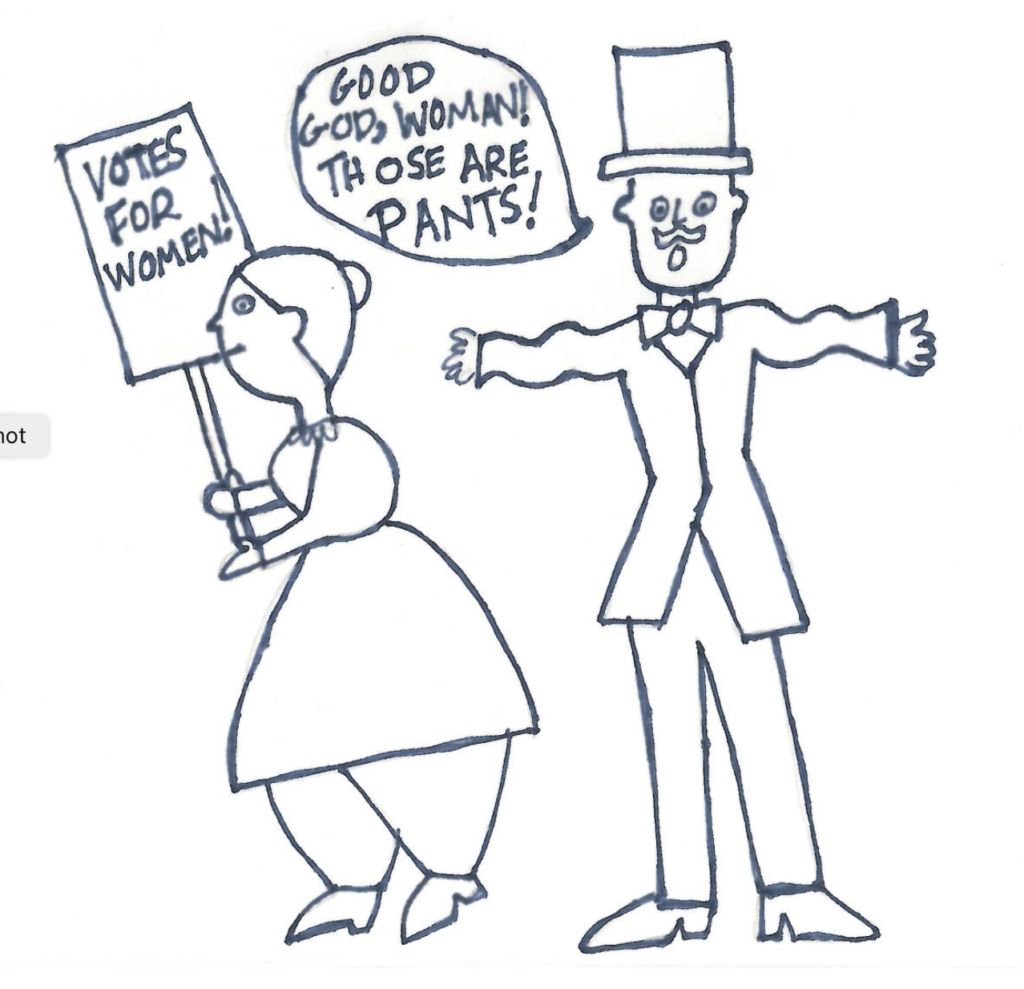 Drawing of Susan B. Anthony and Man